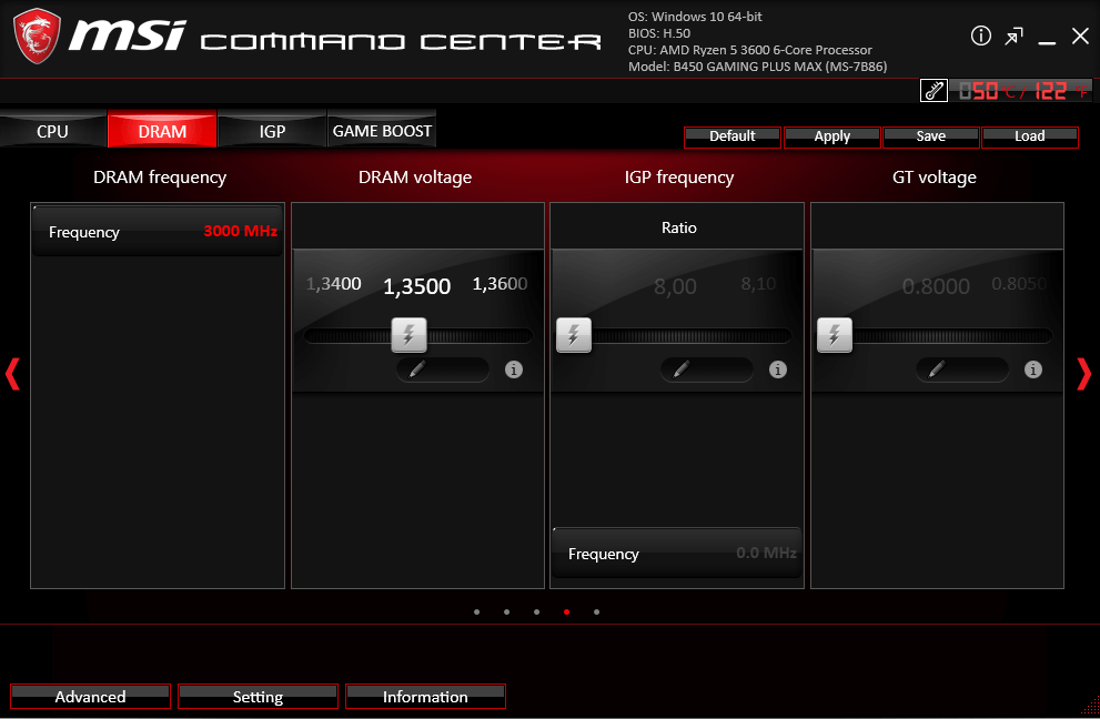 DRAM MSI Command Center